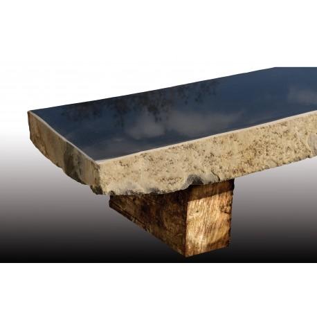 Ława BAZALTOWA na drewnianych nogach